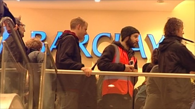 Protesters enter Barclays branch