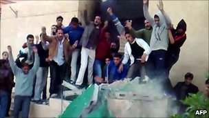 Grab from YouTube video purportedly showing protesters in Tobruk, Libya - released on 17 February 2011