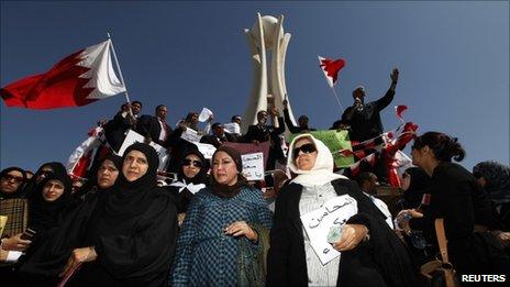 Protesters in Manama's Pearl Square, Bahrain - 20 February 2011
