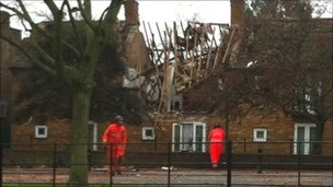 The scene of the explosion in South Ealing