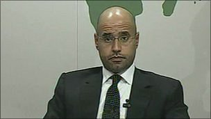 Saif al-Islam speaking on Libyan TV, 20 February