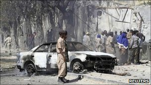 Scene of the blast in Mogadishu. Photo: 21 February 2011