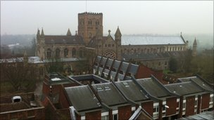 View of St Albans Abbey from the top of the Clock Tower