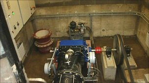 Hydro electric generating equipment at Bixslade Stoneworks