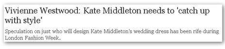 Telegraph headline on Kate Middleton's style