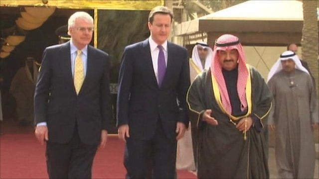 John Major, David Cameron in Kuwait