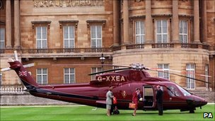 Princess Anne steps from royal helicopter