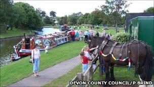Horse-drawn barge at the canal basin, Tiverton