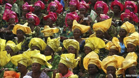 Women attend a campaign meeting for Nigerian President Goodluck Jonathan at Mapo square in Ibadan 8 February 2011