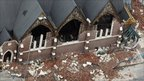 A destroyed church in Christchurch, New Zealand, 23 February 2011