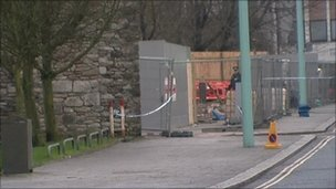 Bomb scene in Notte Street, Plymouth