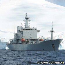 HMS Scott in Neumayer Channel. Crown Copyright
