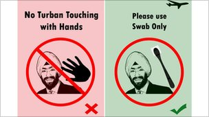 Poster with picture of Sikh saying no to hand checks, and yes to swab checks