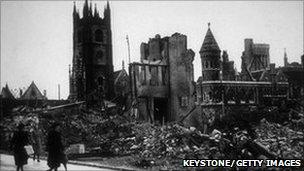 Bomb damage in Plymouth circa 1041