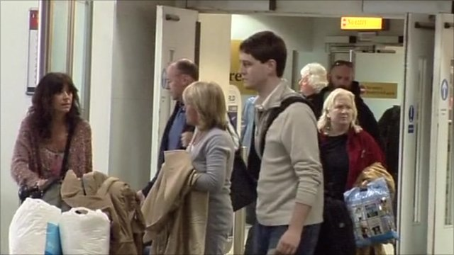 Passengers arriving at Gatwick airport