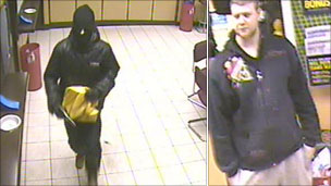 Composite picture showing the armed robbery suspect (l) and a man who was seen in the bookmakers earlier in the day police want to speak to in connection with the incident