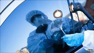 Forensics officer dusting for fingerprints