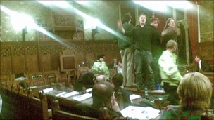 Protesters storm a budget meeting held by City of York Council