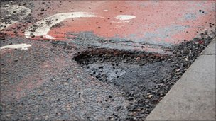Pothole in Lowther Street in Carlisle