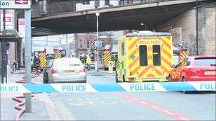 The scene in Fairfield Street, Manchester