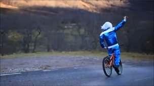 Stunt rider Danny MacAskill as Sir Jimmy Savile. Pic: Outdoor Capital of UK