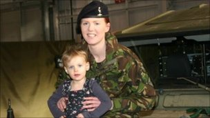 L/Cpl Alex Holt with daughter Emma