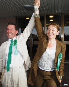 Caroline Lucas celebrating last year's election victory with her husband Richard Savage