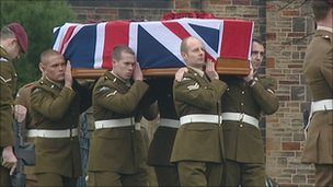 Pte Martin Bell's funeral service