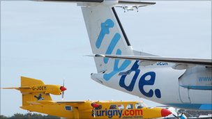 Planes parked at Guernsey Airport