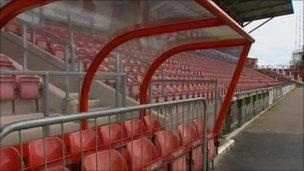 Seating at Wrexham FC Racecourse ground