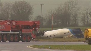 The wreckage of the Manx2 plane at Cork Airport