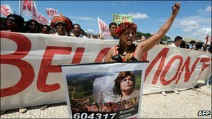 Kaiapo Indians protests against the Belo Monte dam in Brasilia, 8 February 2011