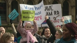 Campaigners in Albert Square, Manchester