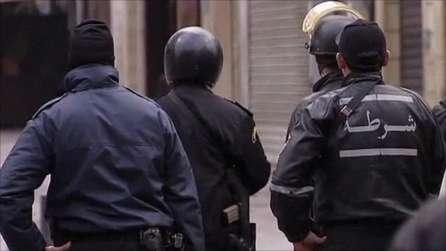 Riot police in Tunis