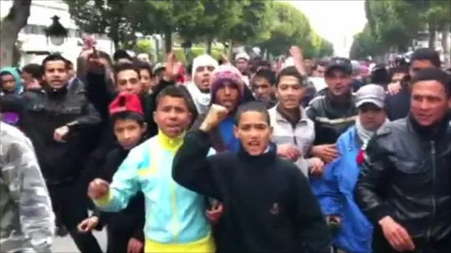 Protesters in Tunis on Sunday