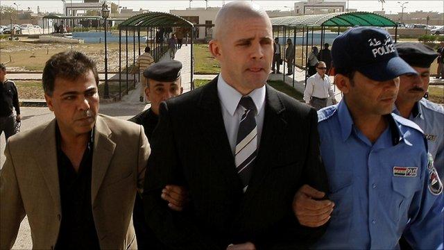 British security guard Danny Fitzsimons (Centre)