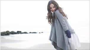 Woman wearing cashmere jumper