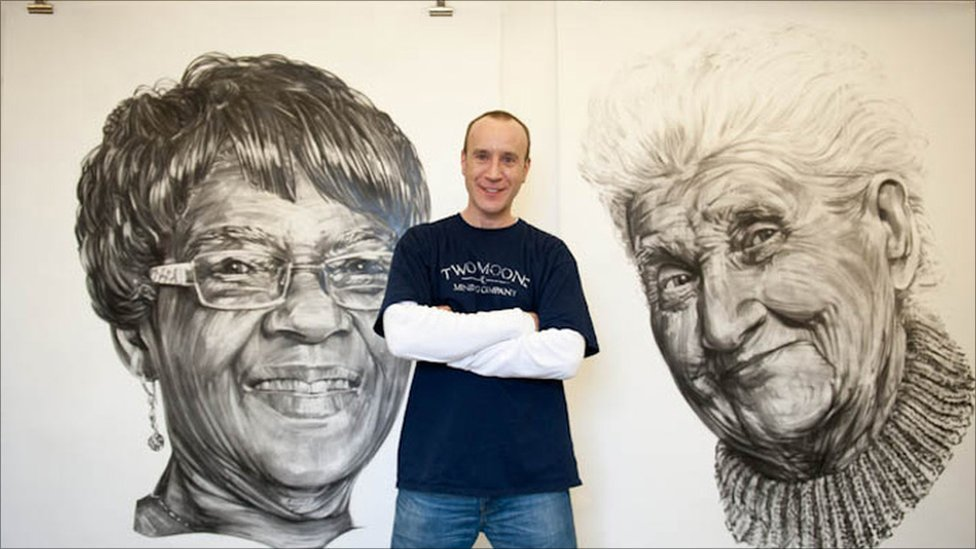Image of: Watercolor Artist Cosmo Sarson In Front Of Charcoal Pictures Of Albertina Quansah left And Rosa Older People Bbc Bbc News Art Show For forgotten Elderly Of London
