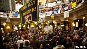 Protesters in Wisconsin's Capitol Building