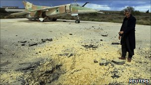 Damage to a Libyan runway in the eastern town of Abrak, 24 February