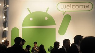 Android stand at Mobile World Congress, AP