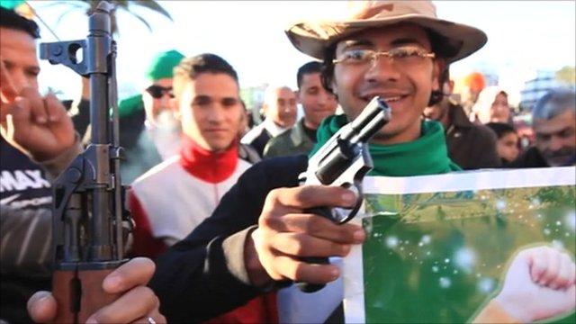 Supporters of Colonel Gaddafi in Tripoli