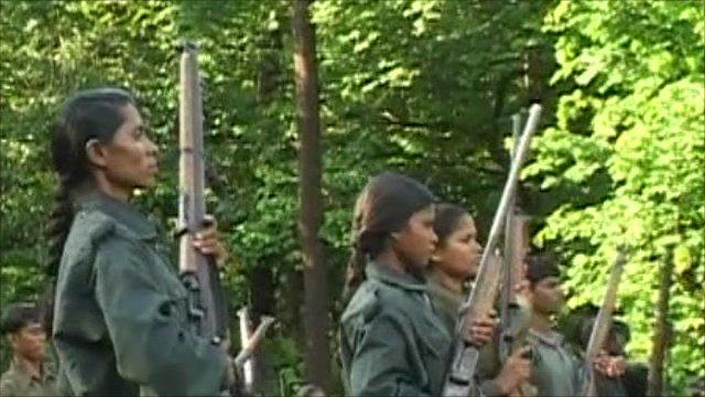Maoist insurgents in training