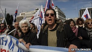 Anti-austerity protesters in Athens