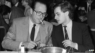 Jacques Chirac (L) then Paris mayor and RPR president with RPR member in charge of Youth, Nicolas Sarkozy, 26 (Mar 1981)