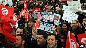 Tunisians demand an end to mass protests, Tunis (5 March 2011)