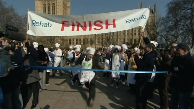Pancake race finishing line
