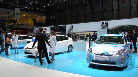 Toyota Prius models on display at the Geneva motor show 2011