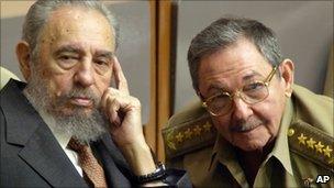 Fidel Castro (left) and Raul Castro (right) in a file photo from 2004