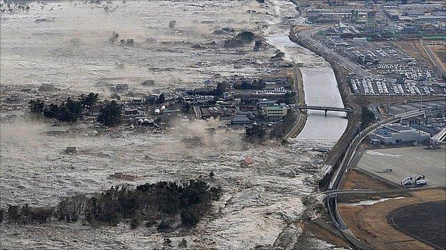 Tsunami hits Iwanuma in northern Japan